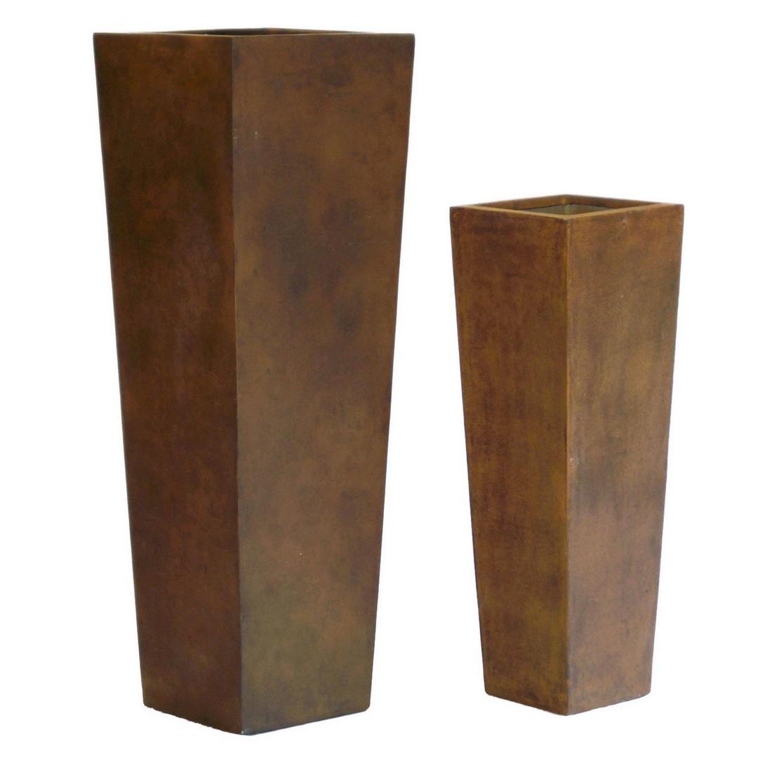 Pflanzkübel Rusty Iron – Kunststoff – Classic Eckig – Höhe: 90 cm Breit: 30 cm (einzeln), Viducci's Garden günstig online kaufen