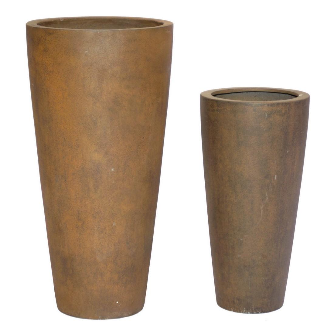 Pflanzkübel Rusty Iron – Kunststoff – Classic Rund – Höhe: 80 cm Ø: 40 cm (einzeln), Viducci's Garden günstig bestellen