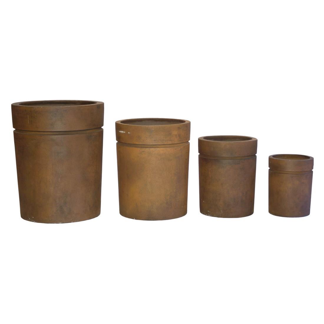 Pflanzkübel Rusty Iron – Kunststoff – Desgin Eckig – Höhe: 62 cm Ø: 50 cm (einzeln), Viducci's Garden günstig bestellen