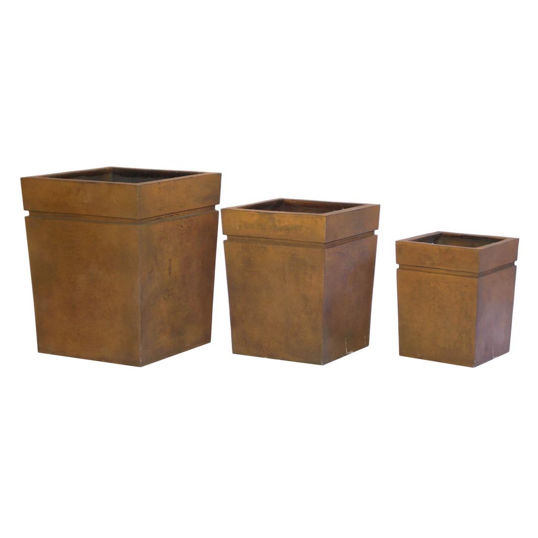 Pflanzkübel Rusty Iron – Kunststoff – Modern Eckig – Höhe: 68 cm Breit: 55 cm (einzeln), Viducci's Garden online bestellen