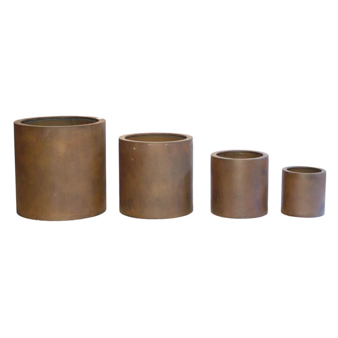 Pflanzkübel Rusty Iron – Kunststoff – Rund City – Höhe: 35 cm Ø: 35 cm (einzeln), Viducci's Garden günstig bestellen