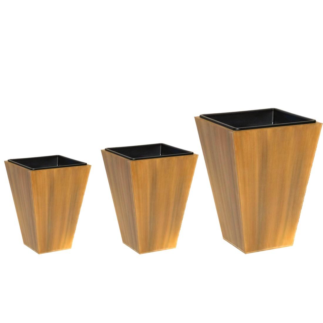 Pflanzkübel Wood – Zink – Little Sky – 3er-Set, Helmes Home & Garden günstig bestellen