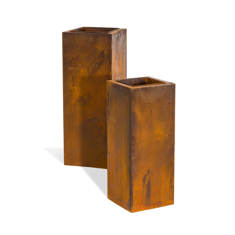 Pflanzsäulen-Set Rost (2-teilig) - Metall - Rostbraun, Pure Day