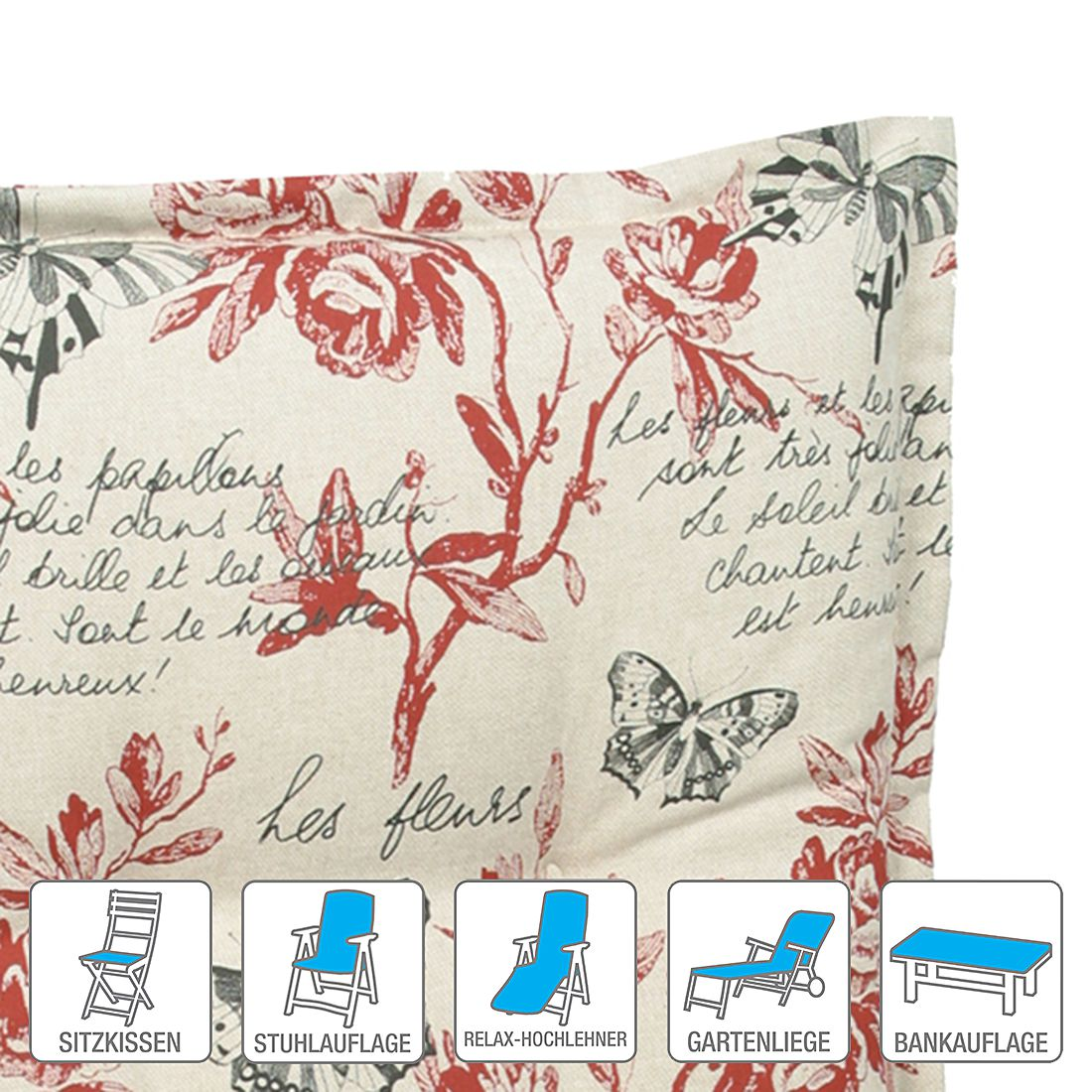 Polsterauflage Ilmensee – Floral gemustert – Niederlehner (2er-Set): 52 x 102 cm, Go-De kaufen