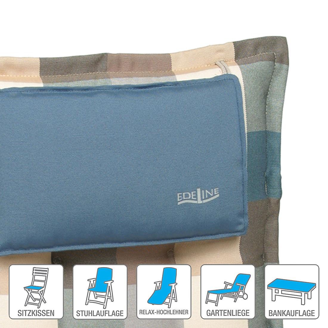 Polsterauflage Salenstein – Blau/Braun/Beige – Niederlehner (2er-Set): 52 x 102 cm, Go-De günstig kaufen