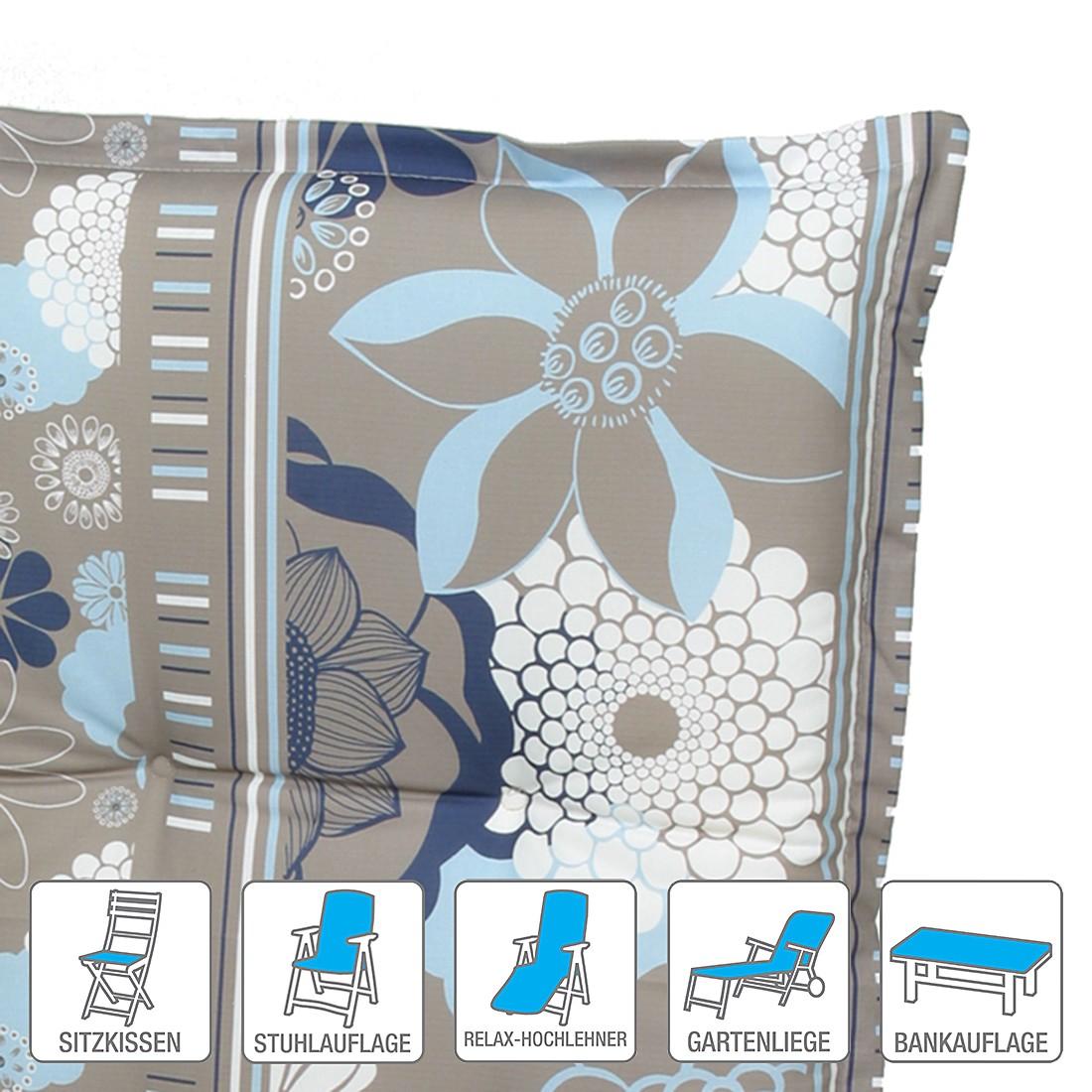 Polsterauflage Wangen – Taupe/Blau – Sitzkissen (2er-Set): 50 x 50 cm, Go-De online bestellen