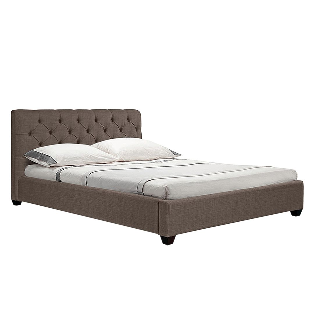 Gestoffeerd bed Grand - geweven stof - 140 x 200cm - Stof Frea Grijs-Bruin II, Jack and Alice