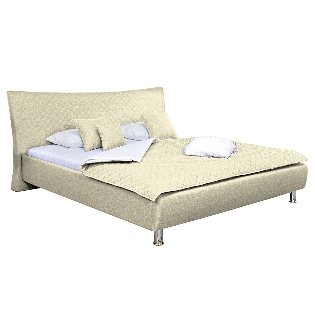 polsterbett nerika webstoff 140 x 200cm bettgestell ohne matratze lattenrost beige. Black Bedroom Furniture Sets. Home Design Ideas