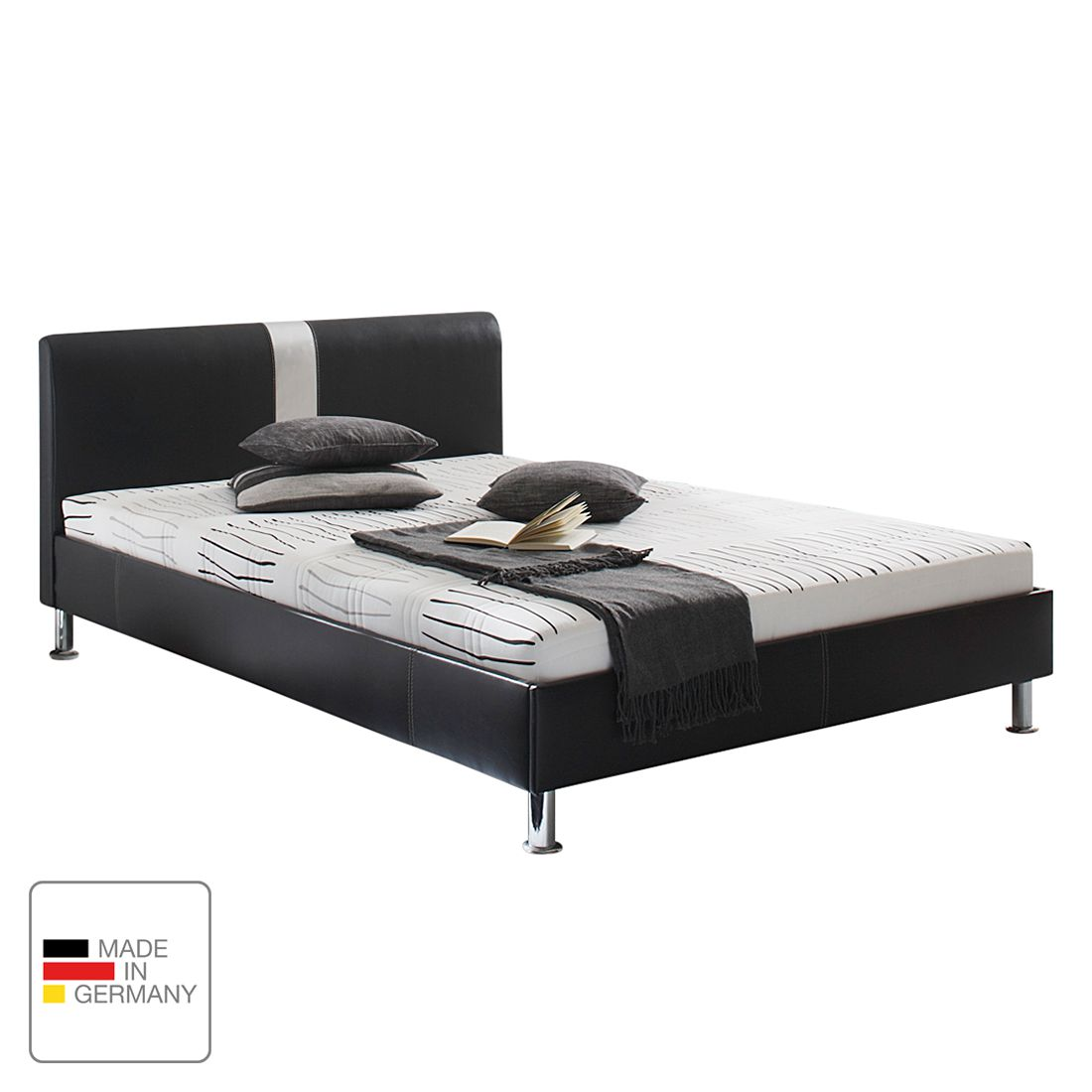 lit capitonn noir 140x200 simili cuir avec matelas pictures to pin on pinterest. Black Bedroom Furniture Sets. Home Design Ideas