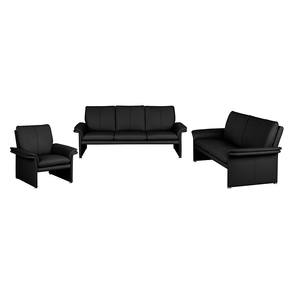 polstergarnitur capri 3 2 1 echtleder schwarz nuovoform g nstig. Black Bedroom Furniture Sets. Home Design Ideas
