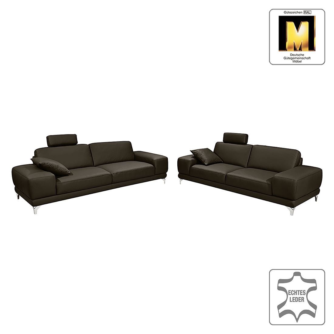 sitzgruppe barcelona 3 2 1 echtleder keine funktion dunkelbraun ada premium g nstig kaufen. Black Bedroom Furniture Sets. Home Design Ideas