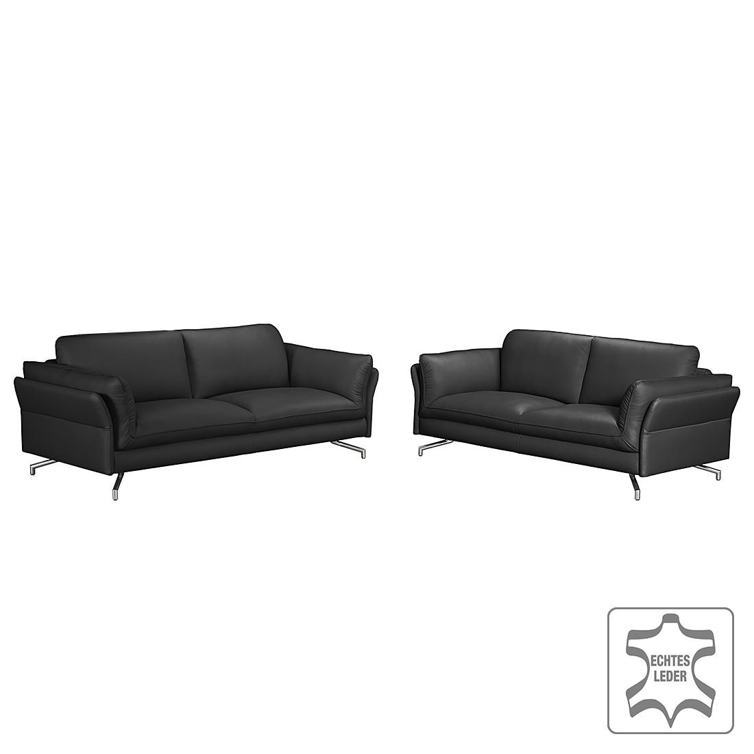 polstergarnitur enrico 3 2 echtleder schwarz mit 2 kopfst tzen loftscape g nstig. Black Bedroom Furniture Sets. Home Design Ideas