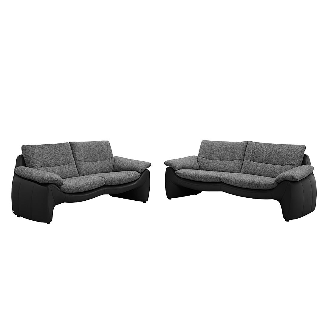 polstergarnitur giorgio 3 2 kunstleder schwarz strukturstoff grau mit 2 kopfst tzen. Black Bedroom Furniture Sets. Home Design Ideas