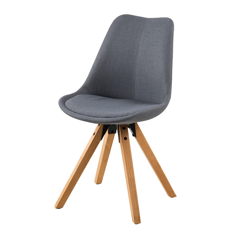 Gestoffeerde stoelen Aledas II (2-delige set) - geweven stof/massief rubberboomhout - Donkergrijs, M