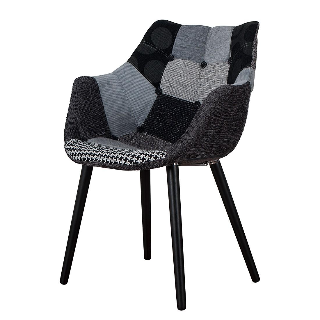Gestoffeerde patchwork stoel eleven grijszwart zuiver for Stoel eleven