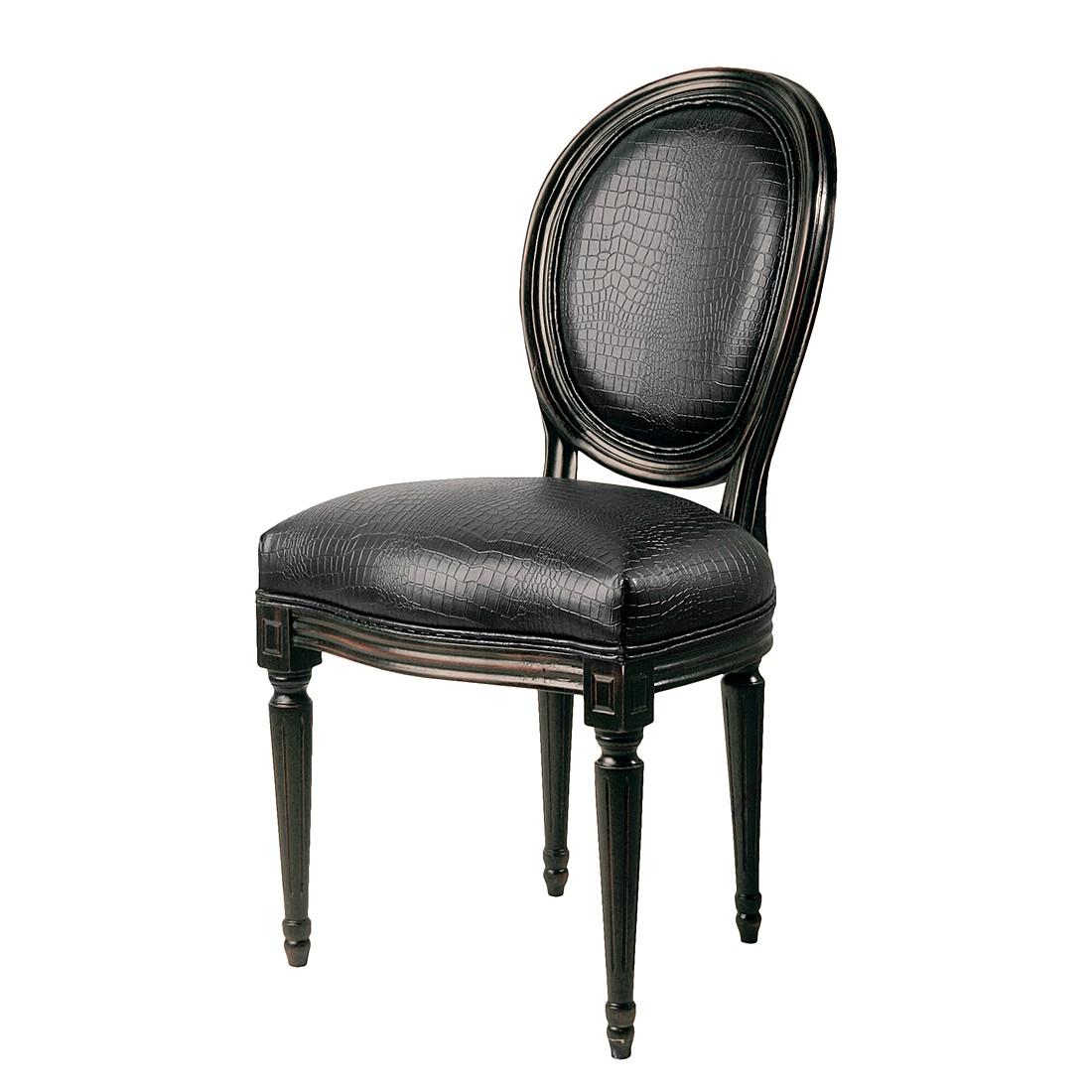 Gestoffeerde stoelen Metropolis Louis (2-delige set) - massief kampferhout/bruin kunstleer, Kare Design