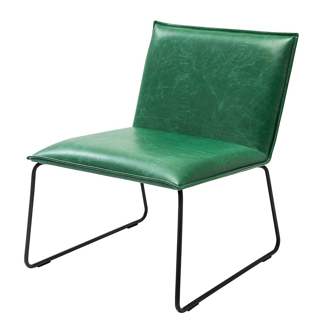 Gestoffeerde stoel Niels - kunstleer/groen vintage staal/zwart, Kare Design