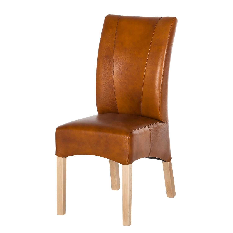 Chaise capitonn e sarpsborg lot de 2 imitation cuir cognac vieilli h tre - Chaise paysanne rouge ...