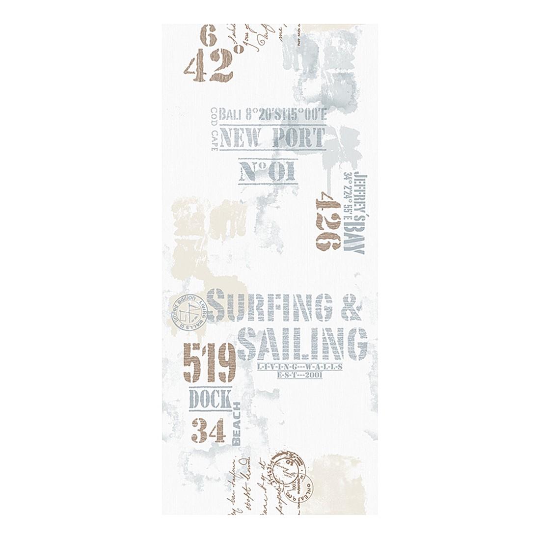 pop.up Panel Surfing and Sailing – weiß – blau – beige – braun – selbstklebend – glatt, Livingwalls günstig kaufen