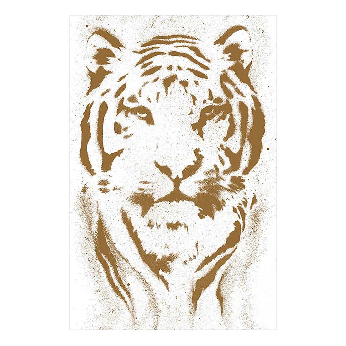 pop.up Panel Tiger – weiß – braun – selbstklebend – glatt, Livingwalls günstig online kaufen