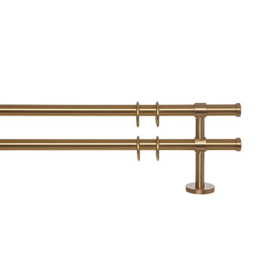 Gardinenstange Paolo (2-lfg) II - Messing Matt - 200 cm, indeko