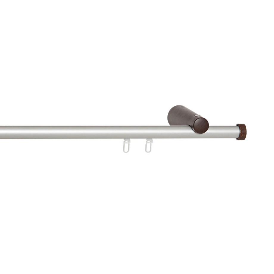 Gardinenstange Nino (1-lfg) I – Nussbaum / Silber – 120 cm, indeko bestellen