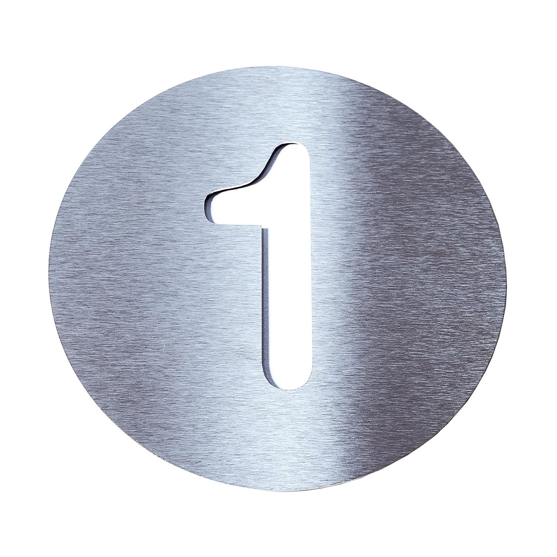 Radius Hausnummer 1 - Edelstahl weiß, Radius