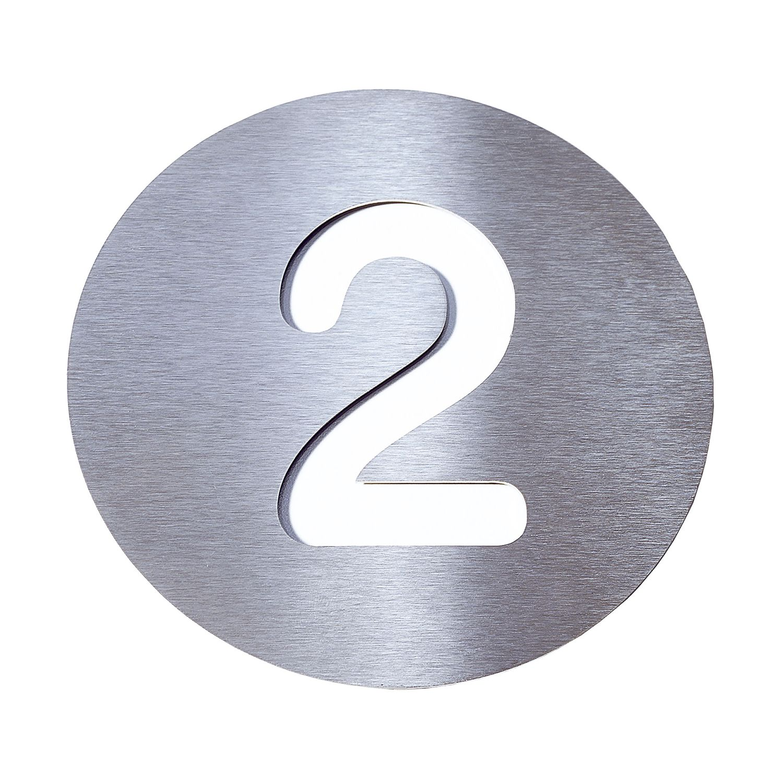 Radius Hausnummer 2 - Edelstahl weiß, Radius