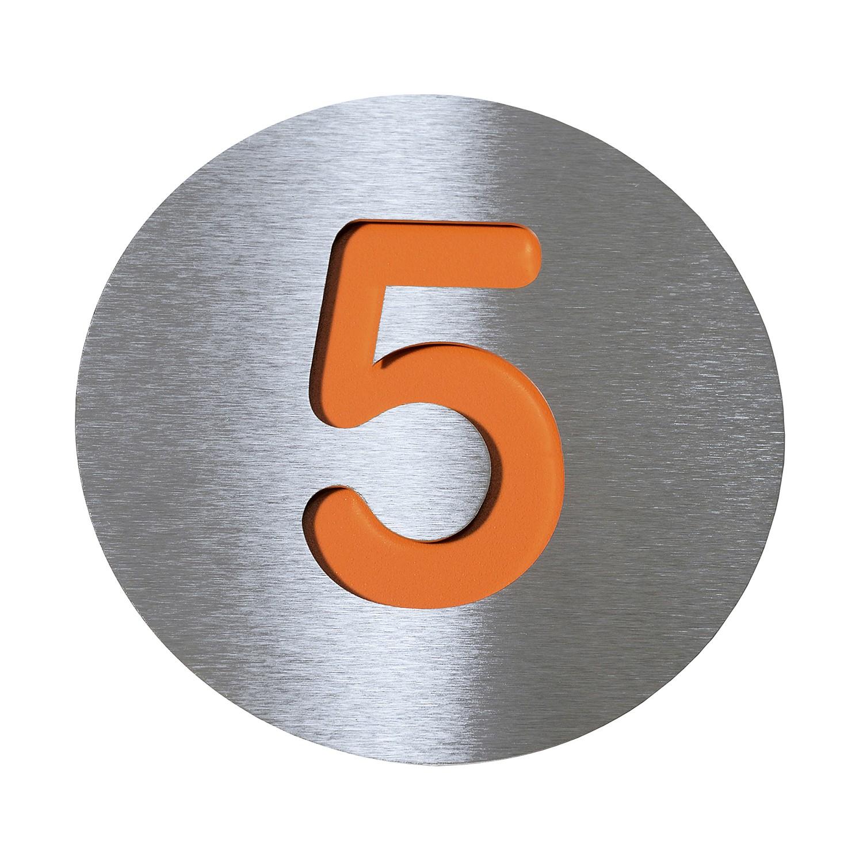 Radius Hausnummer 5 - Edelstahl orange, Radius