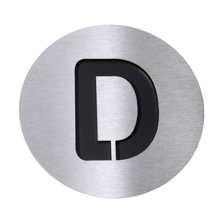 Radius Hausnummer D - Edelstahl schwarz, Radius