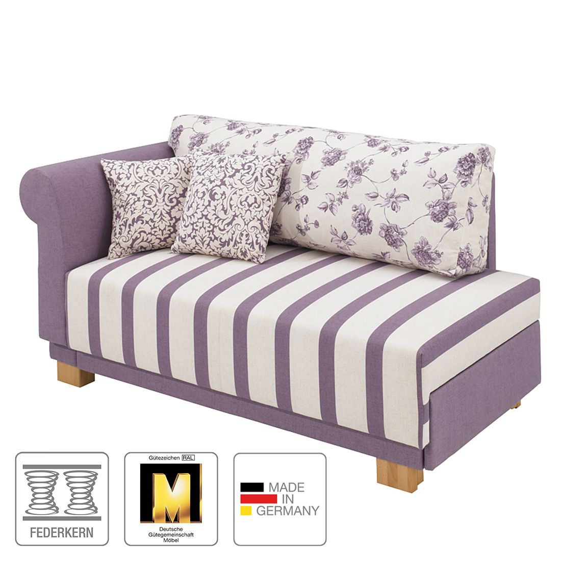 Recamiere Fleuri (mit Schlaffunktion) – Webstoff Weiß/Lavendel – Armlehne davorstehend links – Polsterung: First Class – Federkern, Maison Belfort jetzt bestellen