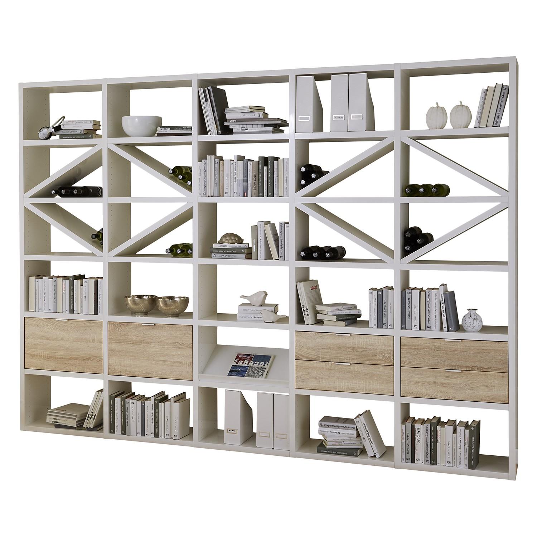 Regal Concept XI - Hochglanz Weiß / Eiche Dekor, loftscape