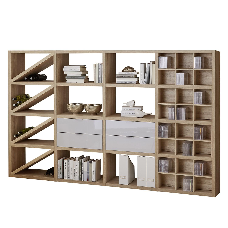 Regal Concept XII - Eiche Dekor / Hochglanz Weiß, loftscape