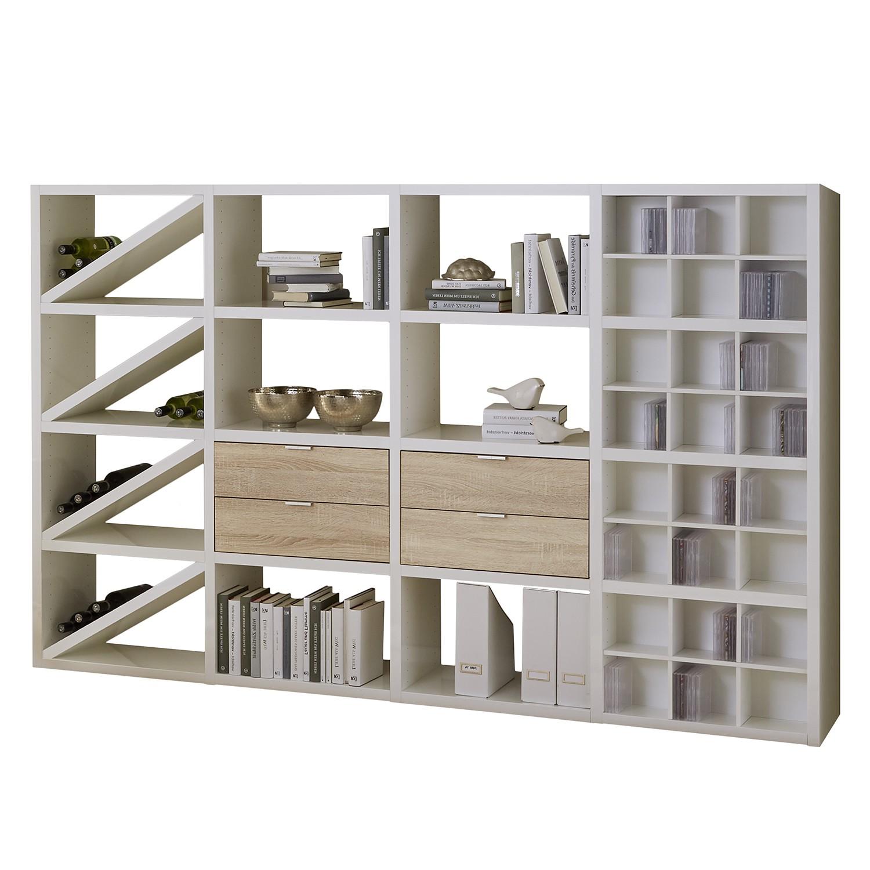 Regal Concept XII - Hochglanz Weiß / Eiche Dekor, loftscape