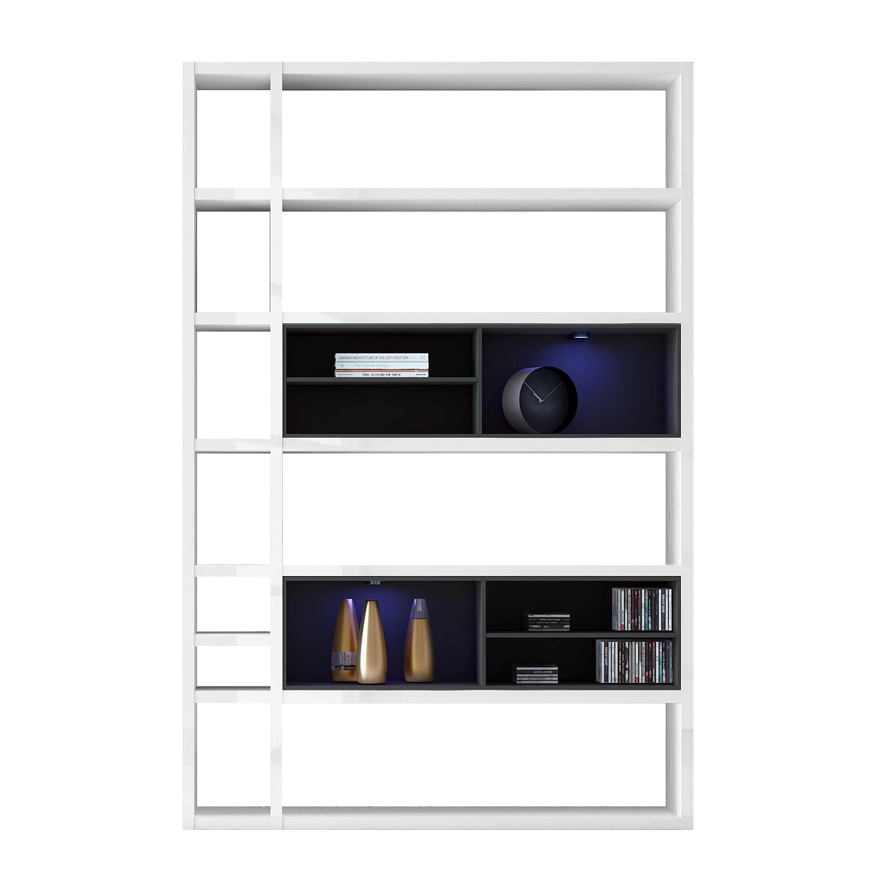 EEK A+, Regal Emporior I - RGB LED-Beleuchtung - Hochglanz Weiß / Schwarz, loftscape