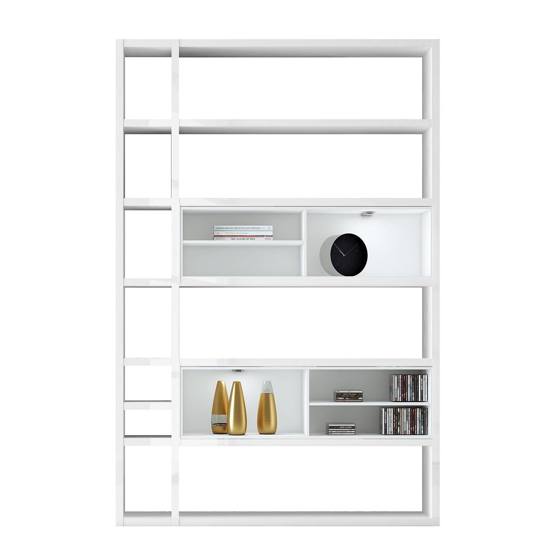 EEK A+, Regal Emporior I - RGB LED-Beleuchtung - Hochglanz Weiß / Weiß, loftscape