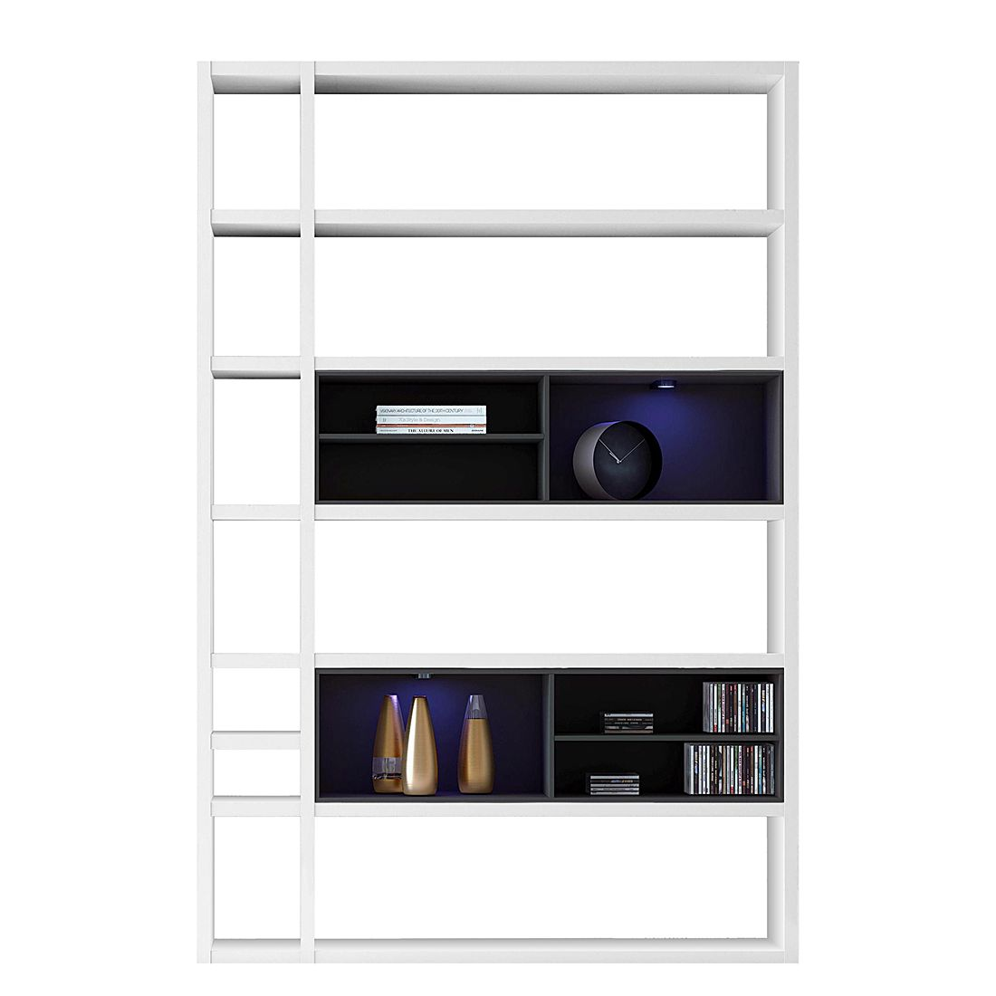 EEK A+, Regal Emporior I - RGB LED-Beleuchtung - Weiß / Schwarz, loftscape