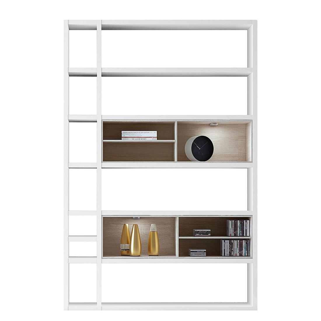 EEK A+, Regal Emporior I - RGB LED-Beleuchtung - Weiß / Eiche Sonoma Dekor, loftscape