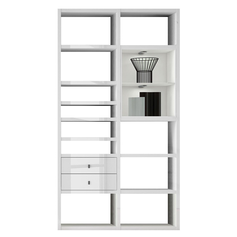 EEK A+, Regal Emporior II - RGB LED-Beleuchtung - Hochglanz Weiß / Weiß, loftscape