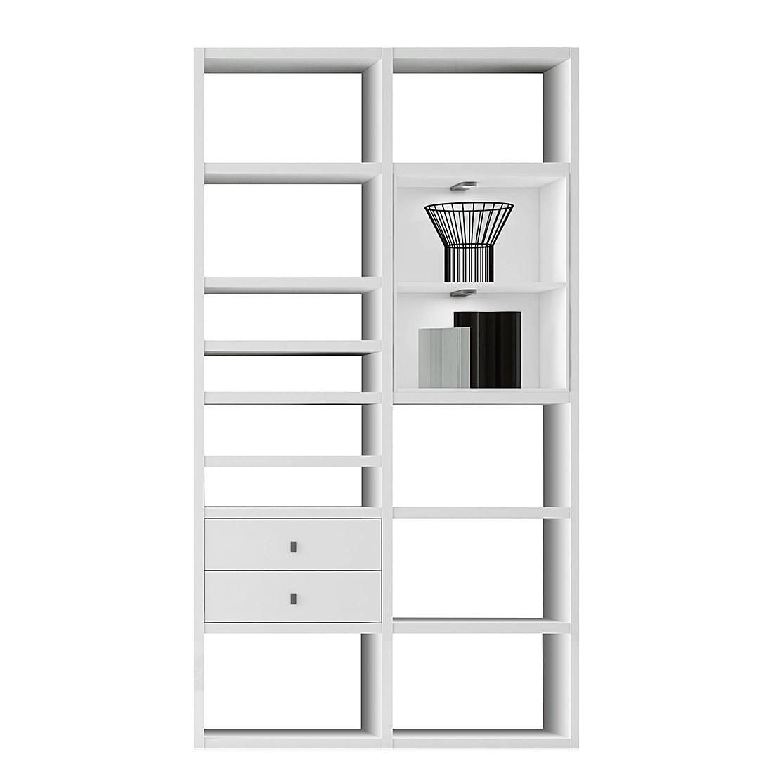 EEK A+, Regal Emporior II - RGB LED-Beleuchtung - Weiß, loftscape