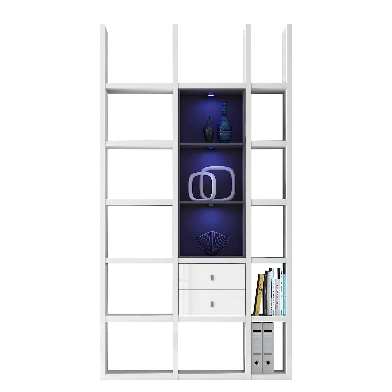 EEK A+, Regal Emporior III - RGB LED-Beleuchtung - Hochglanz Weiß / Schwarz, loftscape
