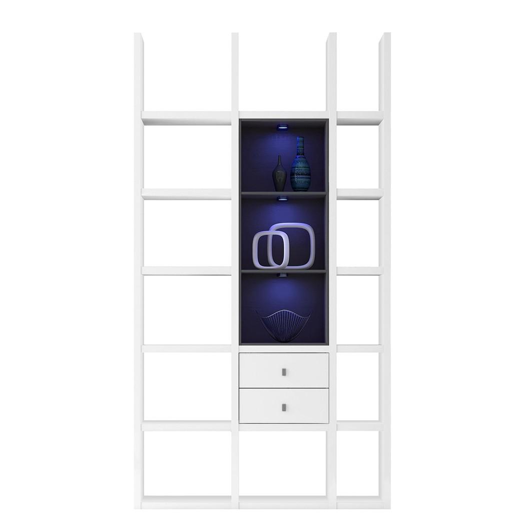 EEK A+, Regal Emporior III - RGB LED-Beleuchtung - Weiß / Schwarz, loftscape