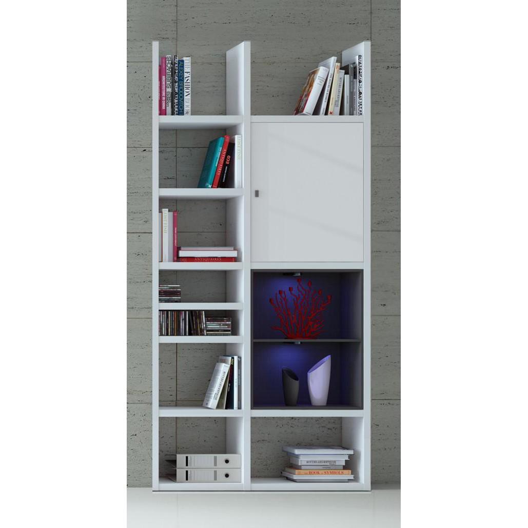EEK A+, Regal Emporior IV - RGB LED-Beleuchtung - Hochglanz Weiß / Schwarz, loftscape
