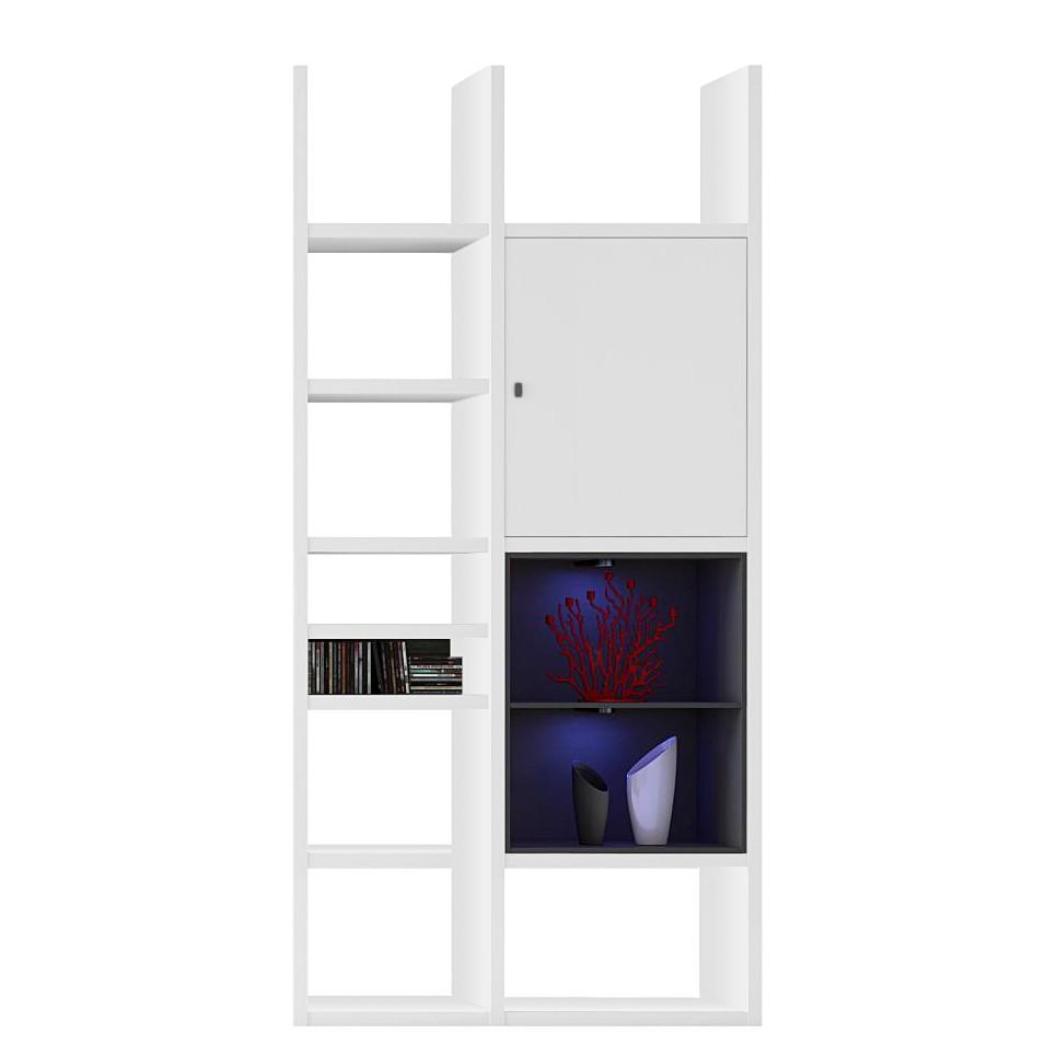 EEK A+, Regal Emporior IV - RGB LED-Beleuchtung - Weiß / Schwarz, loftscape