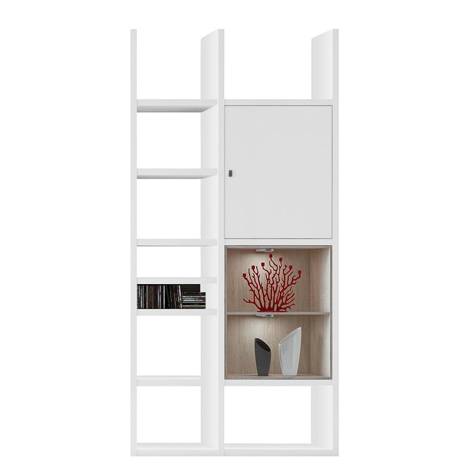 Regal Emporior IV – Sonoma Eiche Dekor – Hochglanz Weiß Ohne Beleuchtung, loftscape bestellen