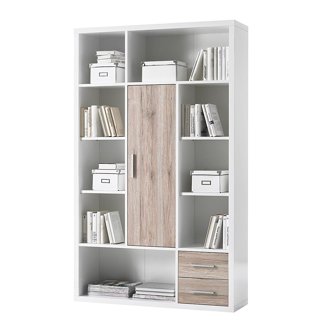 Open kast Nestor II - hoogglans wit/San Remo eikenhouten look, home24 office