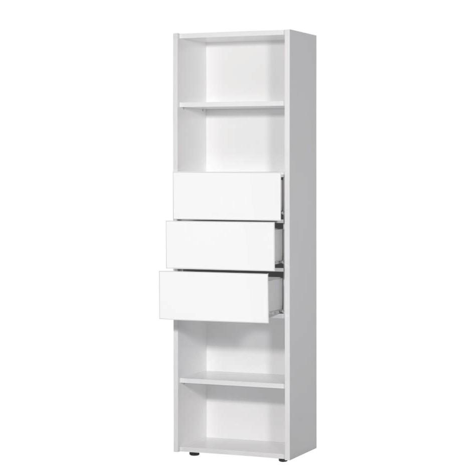 Regal Renalfo – Weiß Hochglanz – 4 Fächer & 3 Schubladen, Violata Furniture günstig