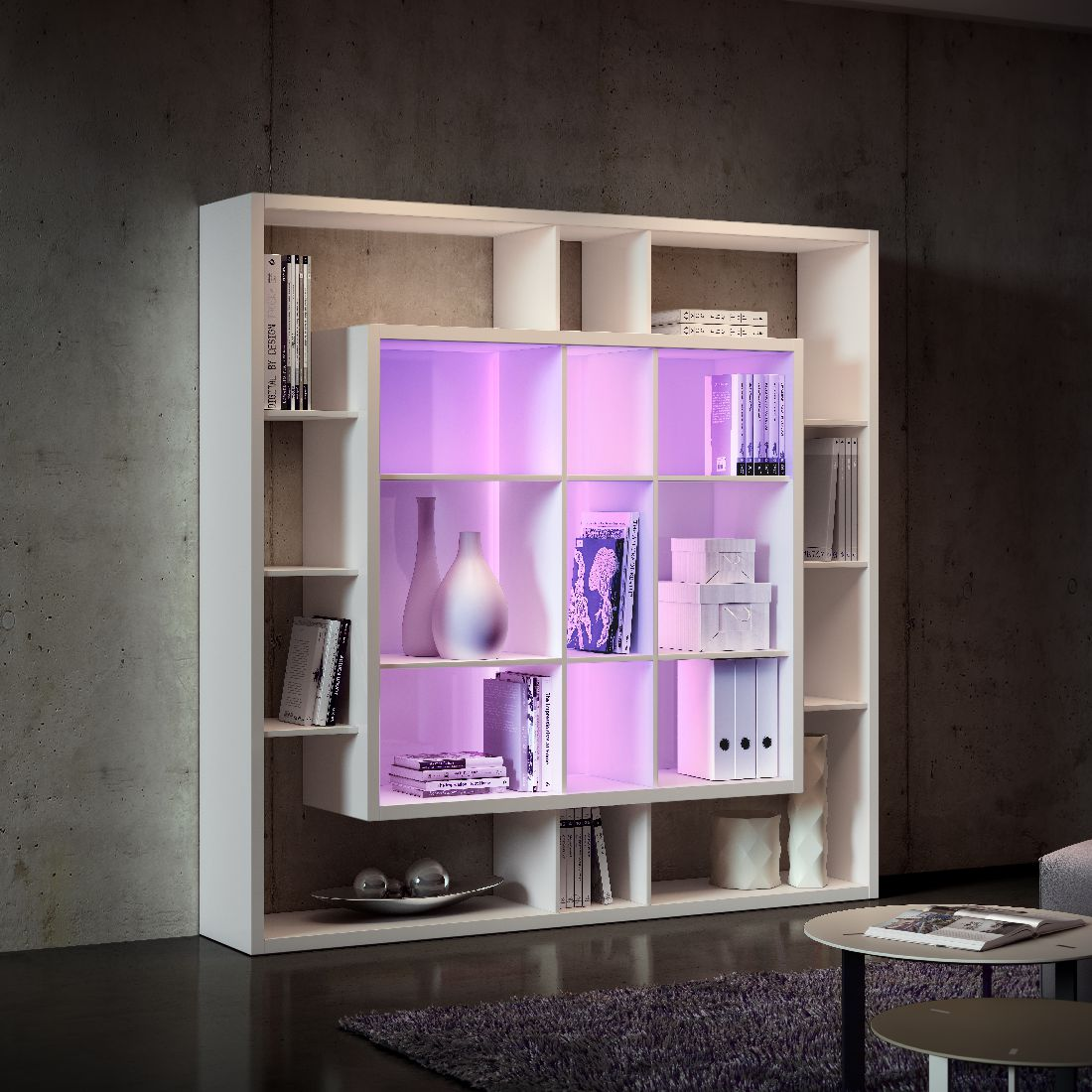 regalwand easy cr me wei i mit 2 bunten rgb led. Black Bedroom Furniture Sets. Home Design Ideas