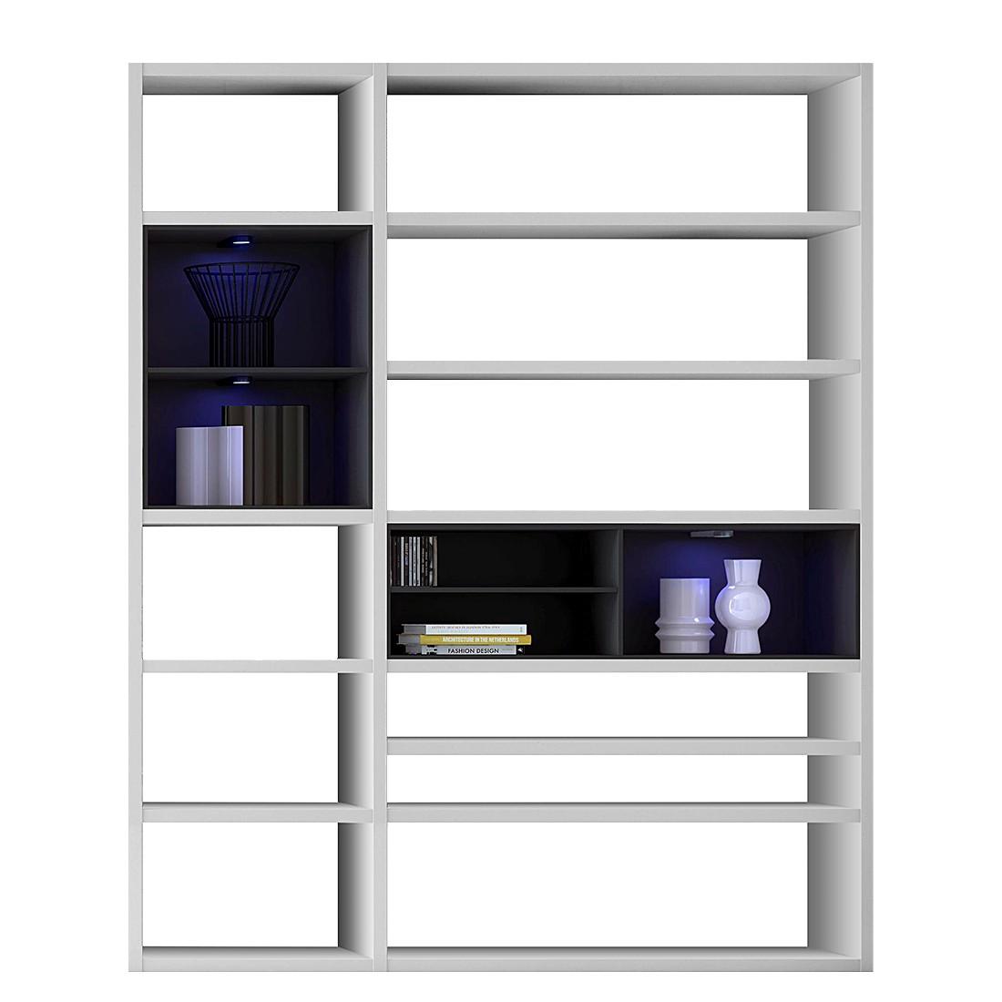 regalwand emporior ii b wei schwarz matt wei ohne beleuchtung. Black Bedroom Furniture Sets. Home Design Ideas