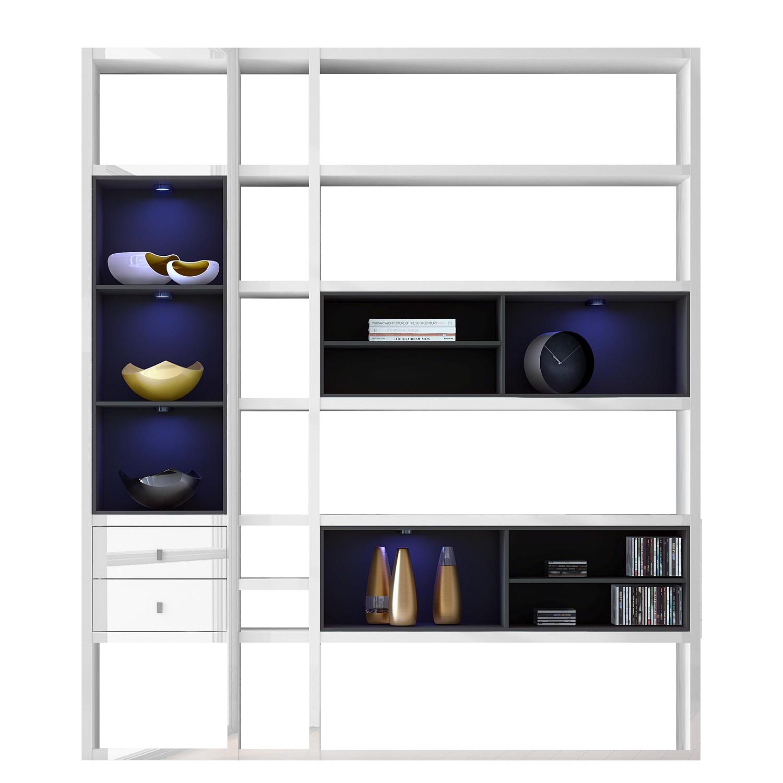 EEK A+, Regalwand Emporior III.A - RGB LED-Beleuchtung - Hochglanz Weiß / Schwarz, loftscape